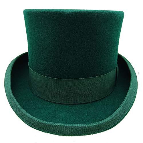 HATsanity Unisex Vintage Wool Felt Formal Tuxedo Topper Hat Green