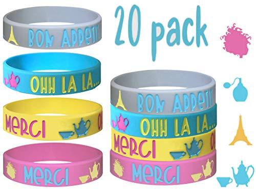 20 pcs Fancy Nancy Theme Party Favors Wristband, Paris, Tea Party/Size Adult and Kids. (Ohh la la, Kids) ()