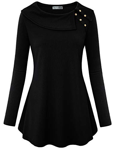 Boatneck Tunic Top - Miss Fortune Casual Tunic, Ladies Cowl Neck Tunic Boatneck Tops for Women Business Casual Clothes Flowy Shirt Long Sleeve Elegant Blouses Swing Loose Fit Top Solid Color Comfy Fall Wear, Black XL
