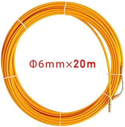 Extractor de Cables 6mm Fibra de Vidrio Cable el/éctrico Extractores de Empuje Carrete de Cable Amarillo Conducto Serpiente Rodder Cinta de Pescado Herramienta de Ayuda de roscado de Alambre 10m