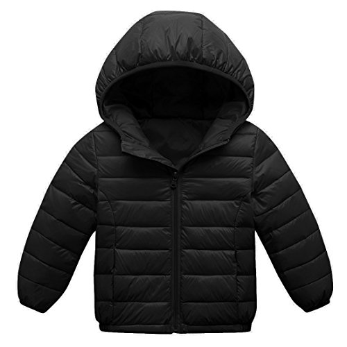 Outwear Sleeve 3 Coat 8T Girls Zipper Up Down Black Winter Hooded Long AIEOE Jacket Z4zSBnx