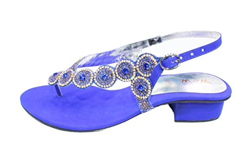 W&W Women Ladies Evening Fashion Sandal Prom Party Wedding Shoes Size 4-10(Black,Silver,Gold)SUNNY R Blue