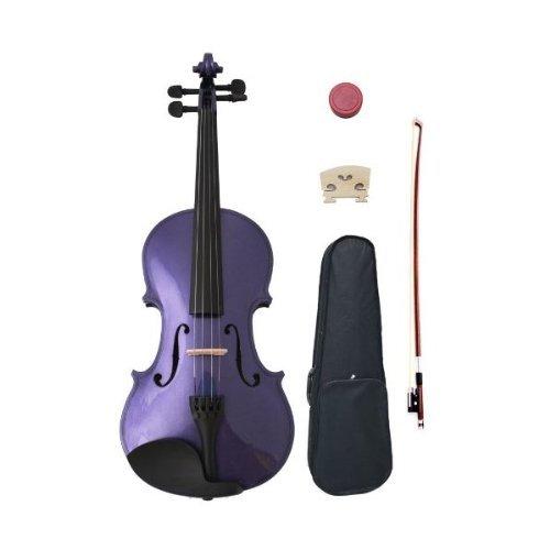 Crescent 3/4 Size Student Violin Starter Kit, Purple Color (Includes CrescentTM Digital E-Tuner)