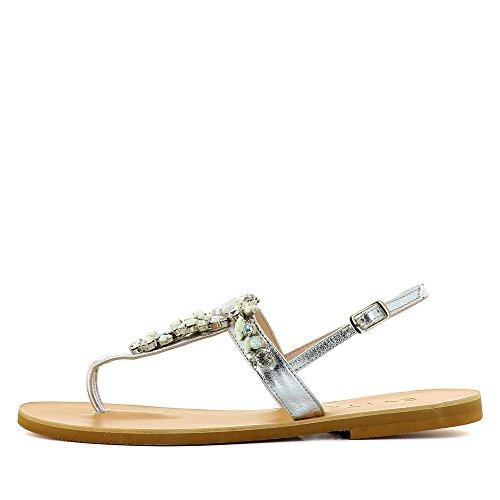 de Piel plata Shoes Greta mujer Sandalias de vestir Evita para gpqXAw