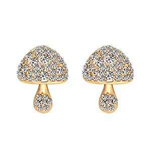 Gespout Mushroom Shaped Design Earrings for Women Small Jewellery Accessories Christmas Eve Wedding Anniversary Valentine's Day Gift for Friends Girlfriend 1.4cm*1.9cm Style B