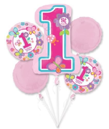 CakeDrake GIRL'S First 1st ONE #1 Sweet Birthday Butterfly Flowers 5 Balloons Bouquet Set