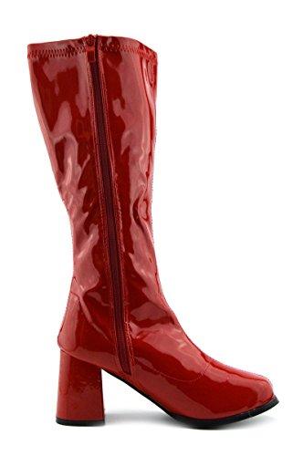 Al Stivali Ginocchio Alti Rosso Alto Tacco Donna Ladies Lunghi zq1xfE