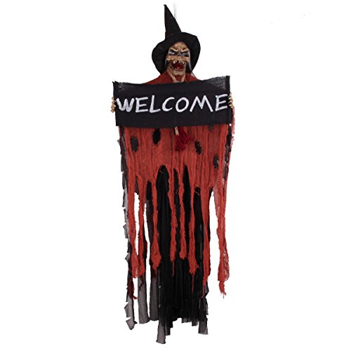 Halloween Hanging Decoration Touch & Sound Control Skeleton Ghost With Glowing Eyes & Scary Voice Demon Haunted House Electric Props (Halloween Spook House Ideas)