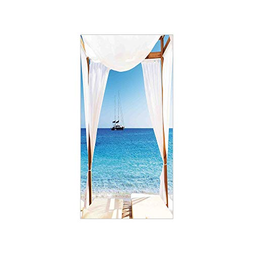 Decorative Privacy Window Film/Beach through A Balinese Bed Summer Sunshine Clear Sky Honeymoon Natural Spa Picture/No-Glue Self Static Cling for Home Bedroom Bathroom Kitchen Office Decor Blue -
