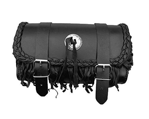 Genuine Leather Motorcycle Windshield Concho Tool Gear Bag w/ Fringe Trim