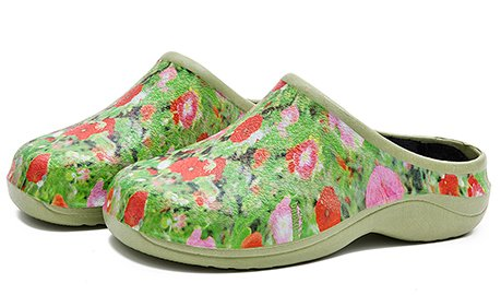 (Backdoorshoes Waterproof Premium Garden Clogs with Arch Support-Poppy Design (8) Green)