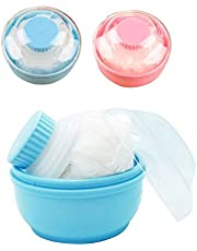 Formemory 2Pcs Baby Powder Puff, Baby Body Cosmetic Powder Puff Sponge Box Case Container