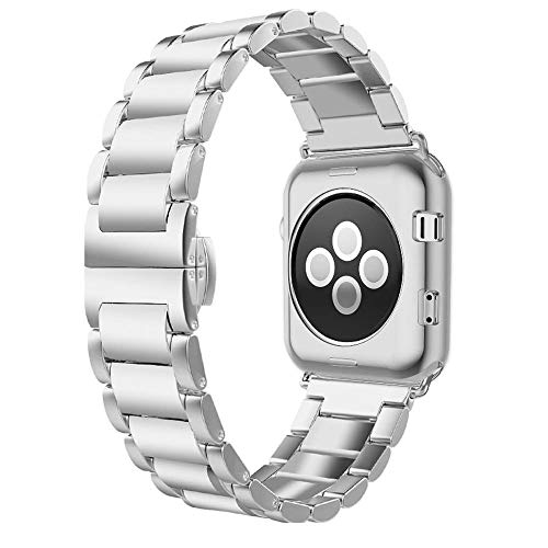 - Compatible for Apple Watch Band 40mm 38mm, UMTELE Slim Stainless Steel Band Metal Strap with Butterfly Clasp Replacement Band Compatible for Apple Watch Series 4(40mm) Series 3/2/1(38mm), Silver