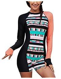 FEOYA Womens Rash Guard Printed Zipper Surfing Suit One Piece Swimsuit Bathing Suit