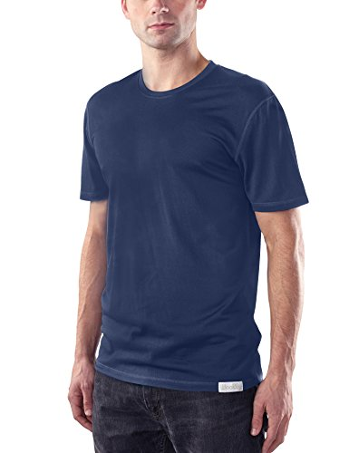 Woolly Clothing Men's Merino Wool Crew Neck Tee Shirt - Everyday Weight - Wicking Breathable Anti-Odor XL NVY