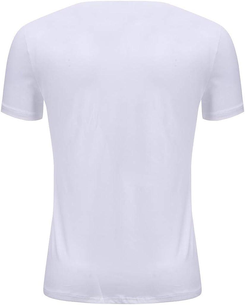 LuluZanm - Camiseta de Manga Corta para Hombre, diseño de Rayas, Corte Ajustado, Cuello Redondo - Negro - Medium: Amazon.es: Ropa y accesorios