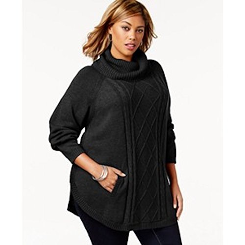 Charter club women cowl neck cabled front poncho sweater plus size 3x black