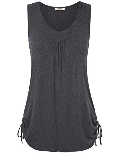 Vivilli Womens Solid Color V Neck Adjustable Drawstring Sides Shirring Tank Tops
