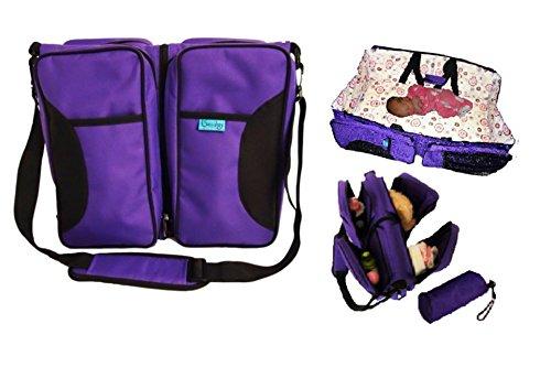 3 in 1 Bassibag Portable Bassinet Crib Changing Station Diaper Bag (Purple)
