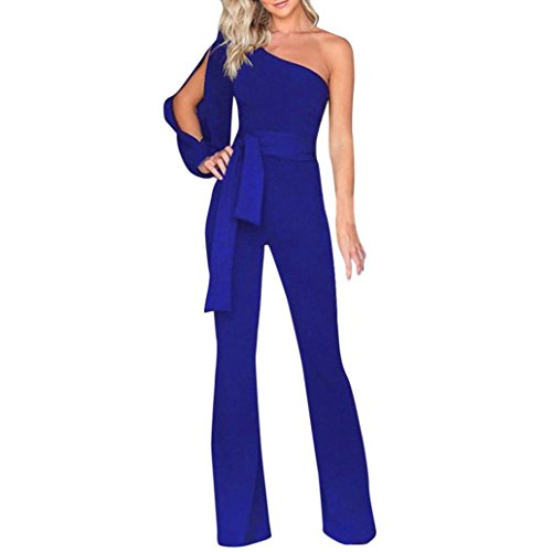 SCSAlgin blouse Women Solid Long Sleeve Cold Shoulder Jumpsuit Casual Clubwear Wide Leg Pants (Blue, M) (Ann Taylor Petites)