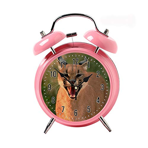 Creative Child Retro Alarm Clock Twin Bell Alarm Clock Backlight Desk Clock Pink Alarm Clock GiftClose-up Photo of Brown Wild Cat ()