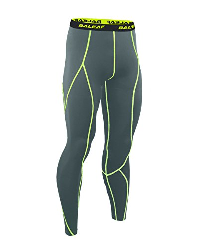 Baleaf Men's Running Fitness Workout Compression Base Layer Tights Grey Size XXL