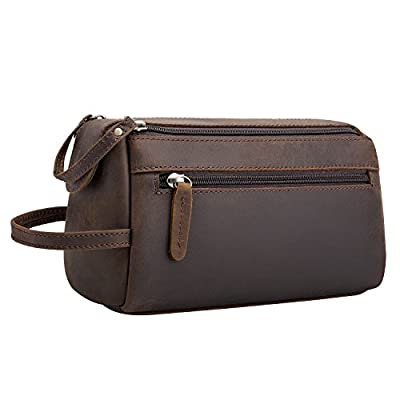 3ecad6548a9d free shipping Srotek Buffalo Genuine Leather Toiletry Bag Unisex Travel Dopp  Kit Bag Vintage Handmade Portable