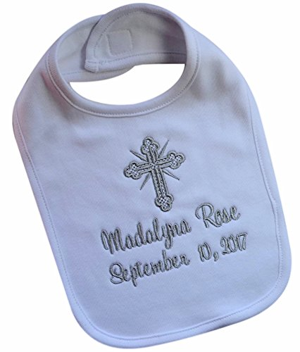Christening Bib for Babies Personalized and Embroidered Name and Baptism Date in SILVER THREAD