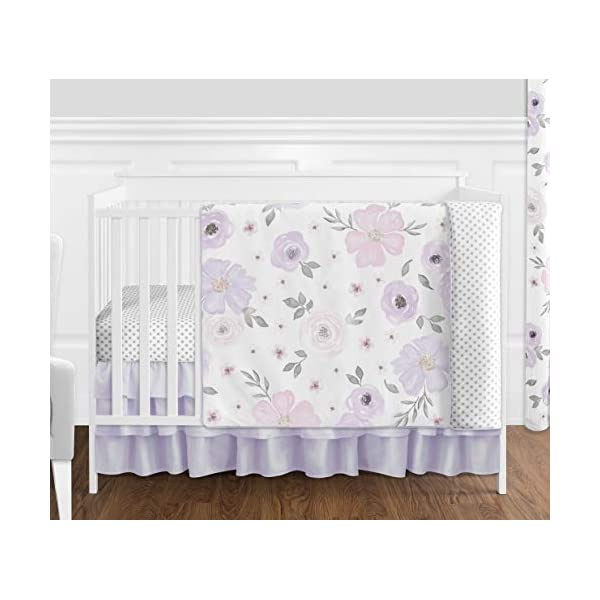 Sweet Jojo Designs Lavender Purple, Pink, Grey and White Shabby Chic Watercolor Floral Baby Girl Nursery Crib Bedding Set without Bumper – 4 pieces – Rose Flower Polka Dot