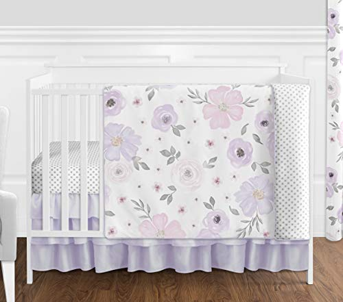 (Sweet Jojo Designs Lavender Purple, Pink, Grey and White Shabby Chic Watercolor Floral Baby Girl Nursery Crib Bedding Set without Bumper - 4 pieces - Rose Flower Polka Dot)