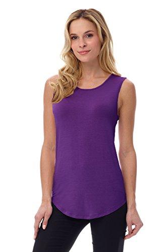 (Rekucci Women's Soft Jersey Knit Sleeveless Tank Top (S-XXL) (X-Small,Purple))