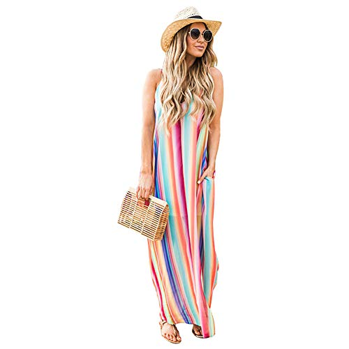 (2019 New Summer Women Rainbow Stripe Print Sexy Backless Beach Long Maxi Dresses Tunic Swimsuit Cover-Ups (Small, Multicolored))