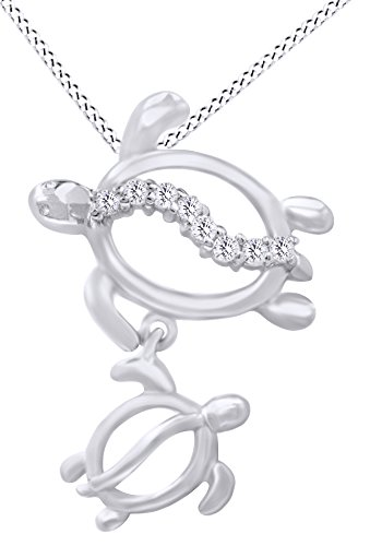 Baby Honu Turtle With Petro Mom White Diamond Pendant Necklace In 10K Solid White Gold For ()