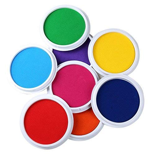 MoloTAR Craft Large Ink Pad Stamps Partner Diy Color,8 Colors Rainbow Finger Ink pad for kids (pack of 8)