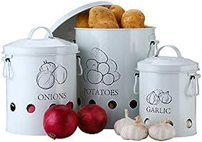 G.a HOMEFAVOR Set of 2 Antique Cream Vintage Potato Onion Kitchen Storage Canisters Jars Pots Containers 2 Pack Set,...