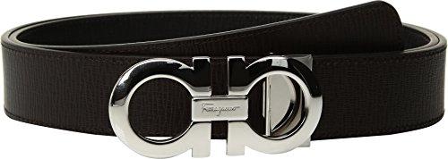 (Salvatore Ferragamo Men's Adjustable & Reversible Gancini Belt - 675542 Nero/Fondente 36)