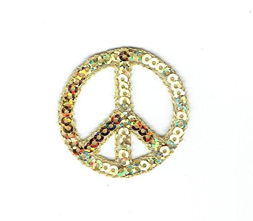 Gold Sequin Peace Sign - 1-1/2