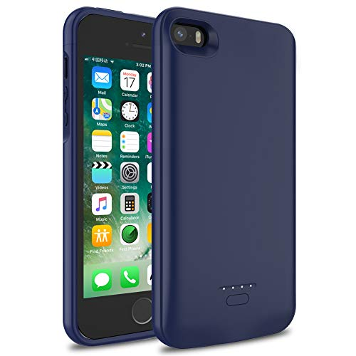 iPhone 5/5S/SE Battery Case, Wavypo 4000mAh Ultra Slim Extended Rechargeable Charger Case External Battery Pack Portable Power Bank Protective Charging Case for iPhone 5, 5S, SE (Blue)