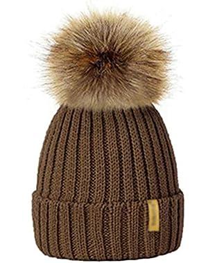 Winter Hats for Kid Knit Beanie Baby Hat Children Fur Pom Pom Hats for Girls Boys Warm Cap