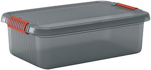 SIK Kis 8561000 0720 01 K Latch Box-Caja de almacenaje plástico Fumar, Color Gris y Naranja 28 L