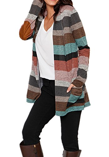 Poulax Women's Geometric Print Open Front Leightweight Knit Cardigan with Pockets,Brown,XL