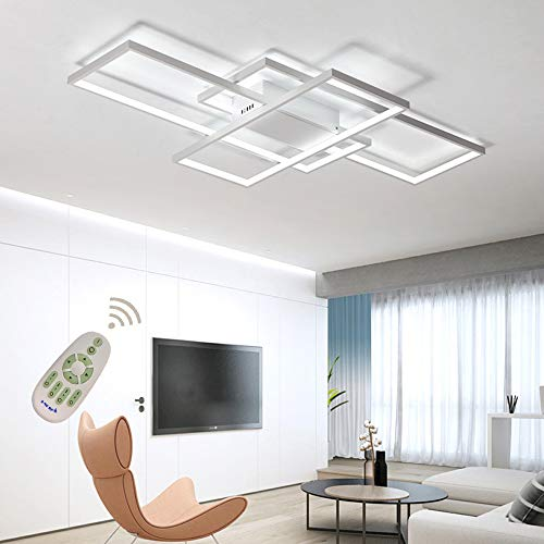 (LED Ceiling Light Dimmable Living Room Kitchen Island Table Light Fixture With Remote Control, Modern Dining Room Flush Mount Acrylic Chic Design Ceiling Chandeliers Lighting for Bedroom Bathroom)