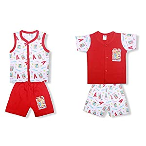 Little Hub Cotton Clothes for Baby Boy & Baby Girl 2 Short Sleeve Round Neck T-Shirt and 2 Pants