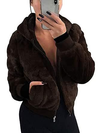 NVXIYYA Women Warm Thick Long Sleeve Parka Faux Fur Hoodies Coat Overcoat Fluffy Top Jacket with Pockets Dark Coffee S