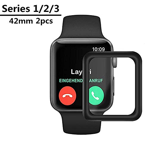 Price comparison product image hairbowsales Compatible [2 - Pack] for Apple Watch 42mmTempered Glass Screen Protector,  hairbowsales (Black) Anti-Scratch,  Full Coverage Scratch-Proof Screen Film Compatible iWatch 42mm Series 1 / 2 / 3