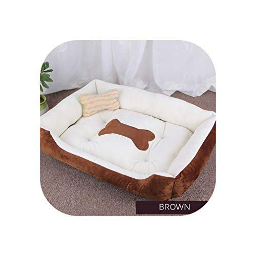 Dog Bed Warming Kennel Washable Pet Floppy Extra Comfy Plush Rim Cushion and Nonslip Bottom Dog House,Brown,L 70cmX 50cm X15cm