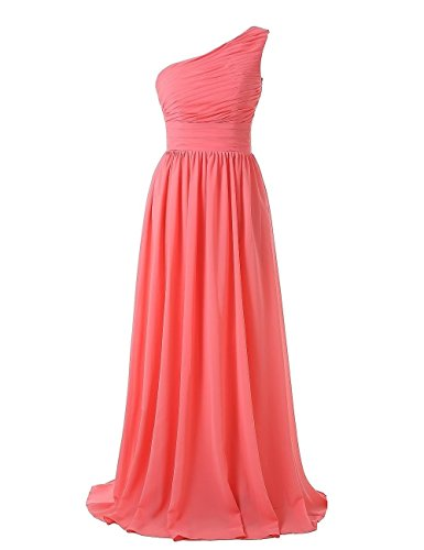 Corset Long Gown (Kiss Dress Women's Long Bridesmaid Dresses One Shoulder Chiffon Evening Gowns (XL, Coral))