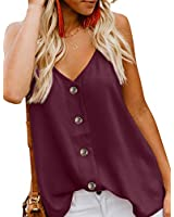 PARICI Women's V Neck Casual Tank Tops Button Down Sleeveless T Shirts Blouses Red