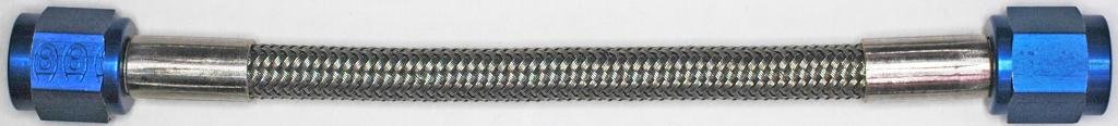 AN-4 8.5 In. Long Stainless Steel Braid Teflon Hose/blue straights NC GRAYSTONE
