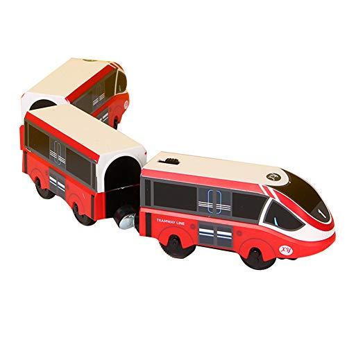 Herbests Elektrische locomotief met hoge snelheid, speelgoed, magneet, op batterijen, houten spoorbaan en trein…